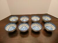"""Cheng's Porcelain Rice Bowls Eight Beautiful White, Blue, & Gray Bowls 4 1/2"""""""