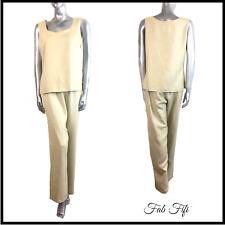Gina Bacconi Matching Outfit 2 Piece Set Top & Trousers Light Beige UK 14