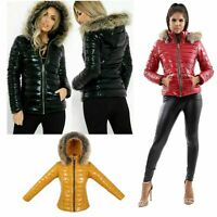 Women's Quilted Puffer Wet Look Black Shiny Padded Jacket Fur Hooded Thick Coat