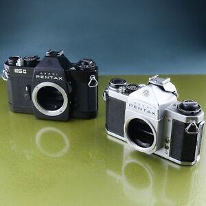 2x PENTAX vintage CAMERA, ASAHI SV + ES II 2 TTL JAPAN silver and black ☆☆☆