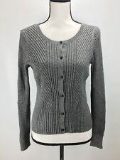 Cardigan Sweater Junior Sz S Ribbed Knit Button Front Long Sleeve Gray J2201 1c09e6154