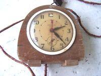 Vintage Electric Alarm Clock 1930's Wood Case