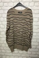 M&S LIMITED COLLECTION LADIES JUMPER SIZE L NATURAL BROWN BLACK STRIPES