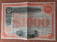 West Shore Railroad Company 1946 $1000 Share Certificate