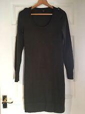 Vestido corto Jersey de lana verde caqui Hobbs de manga larga talla 12