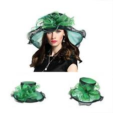 Women s Church Kentucky Derby Fascinator Tea Party Organza Hat (S615-Green) 3ec19f5ae9b0