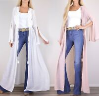 NWT Boho Bell Sleeve Crochet Kimono Cardigan Long Full Maxi Hippie 70's Duster
