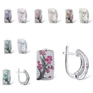 Women  925 Silver Stud Earrings Creative Round Cut Cubic Zirconia Jewelry Gifts