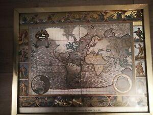 Moses Pitt 1681 World Map Framed - Nova Totius Terrarum Orbis - Gold Foil