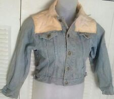 Vtg PePe Jeans 80s Button Front DENIM/LEATHER Stone WASH Faded DISTRESSED JACKET