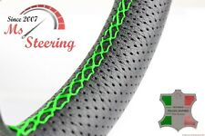 FOR SAAB 9-5 AERO 11-11 PERF LEATHER STEERING WHEEL COVER GREEN 2 STIT