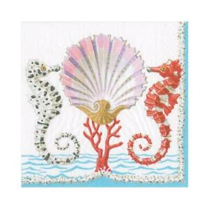 20 Paper Party Napkins Seahorses & Shell Pack of 20 3 Ply Serviettes