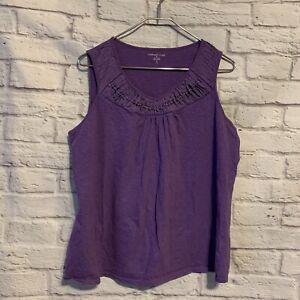 Coldwater Creek XL 16 Purple Knit Embellish Tank Shirt 4978