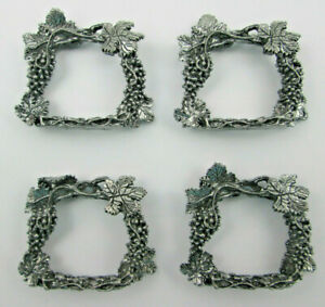 4 Grapes and Vines Napkin Rings Pewter Grapevines by Wanda Scruby