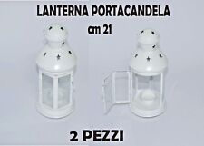 LANTERNA PORTACANDANDELA BIANCA CON GANCIO 21 cm. 2 PEZZI DECORAZIONE