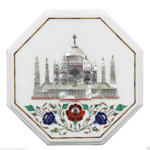 "12"" Marble Tajmahal Inlay Coffee Table Top Mosaic Eid Special Home Decor"
