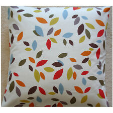 """NEW 24"""" Cushion Cover Scattered Leaves Orange Red Blue Green Brown Grey Leaf"""