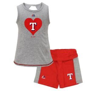 Texas Rangers MLB Majestic Little Girls' Grey Tank Top & Shorts Set (4-6X)