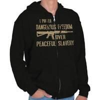 Dangerous Freedom Over Peaceful Slavery Arms Adult Zip Hoodie Jacket Sweatshirt