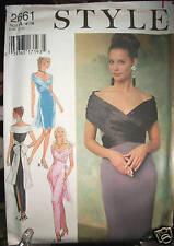 Style Pattern 2661 UNCUT Shoulder Drape Pencil Dress Bow Back SZ 6 8 10 12 14 16
