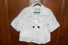 OLD NAVY White Double Breasted Short Sleeve Swing Jacket Girls M 8 Spring Summer