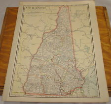 1911 Cram Antique Color Map/New Hampshire, b/w Vermont