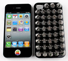 Vintage Punk Metal Spike Studs Cone Rivet Nail Art Cover Case For iphone 4 4S 4G