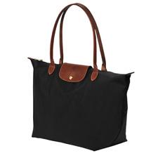 Authentic Longchamp Black Medium LE PLIAGE TOTE 1899 Long Handle Nylon handbag