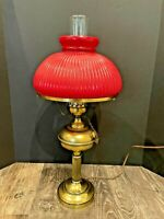 "Vtg Electric Oil Hurricane Chimney Lamp Light Red Ribbed Shade Globe GWTW 24"" T"