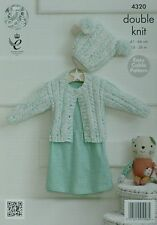 KNITTING PATTERN Baby Easy Cable & Rib Cardigan &Pom-pom Hat DK King Cole 4320