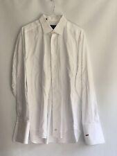 David Donahue POUSA-369 Men Classic Fit French Cuffs Dress Shirt /White/18 36/37