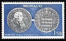Monaco 1234, MNH. Coin Honore II silver ecu, 1980