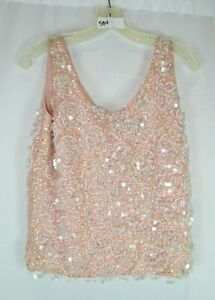 VINTAGE CARDELL PINK LINED 100% WOOL BEAD/SEQUIN SLEEVELESS TOP SZ ? #H534