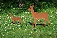 großes Reh 100cm Gartenstecker Metall Edelrost Rost Natur Gartendeko Handarbeit