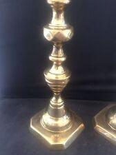 "Antique Pair c19th faceted Brass Push up Candlesticks poss Georgian 9.75"" tall"