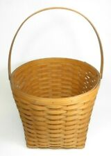 """Large Longberger Basket with Swiveling Handle, Handwoven - (14"""" x 12"""")"""
