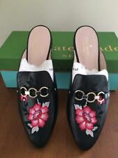 NIB $258 KATE SPADE Mules CANYON Sz 6.5 M BLACK LEATHER Shoes loafers 6-1/2 NEW