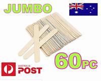 60x JUMBO CRAFT STICKS Natural Wooden  Paddle Pop Popsicle Sticks 14.5 x 1.9 cm
