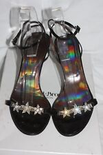 KAREN MILLEN Black Satin LEATHER SILVER Crystal Flower Evening Sandal 4.5