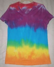 L T SHIRT V NECK WOMENS TIE DYE PINK ORANGE SUN GREEN LIME DEAD HIPPY ART 12 14