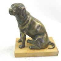 Antique late 19th century sculpture bronze figure of a dog on marble base