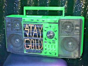 Spray Painted Green Break Dancing boombox vintage *working• Urban Folk Art