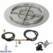 """American Fireglass 24"""" Round Flat Fire Pit Kit with Spark Ignition Natural Gas"""