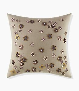 Kate Spade Scatter Blossom Square Decorative Pillow Natural Bead Sequin Floral