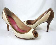 Kate Spade Giselle Shoes Size 6.5 M Pumps Tan Canvas Spectator Peep Toe Leather