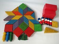 Vintage Toys Wood Lot Playskool Parquetry Blocks Peg People Trees