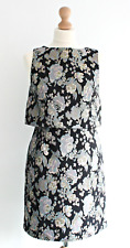 Warehouse Floral Brocade Black Gold Dress Wedding Party Evening Printed Size 10