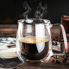 Heat Resistant Double Wall Layer Clear Glass Tea Coffee Cups Mug 250ml Handmade