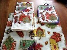 New listing Fall Leaf Design Placemat Tea Towel and Pot Holder Set (0052)