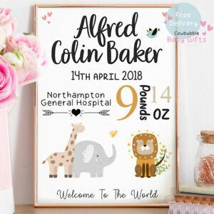 Personalised Baby Print - Boy/Girl Nursery Gifts - Safari Animals & Birth Stats!